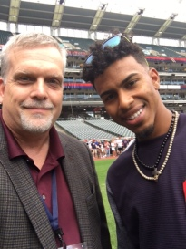 Del Duduit with Francisco Lindor of the Cleveland Indians