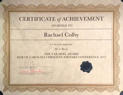 Rachael-M -Colby-North-Carolina-Christian-Writers-Conference-1st-Place-Tar-Heel-Award
