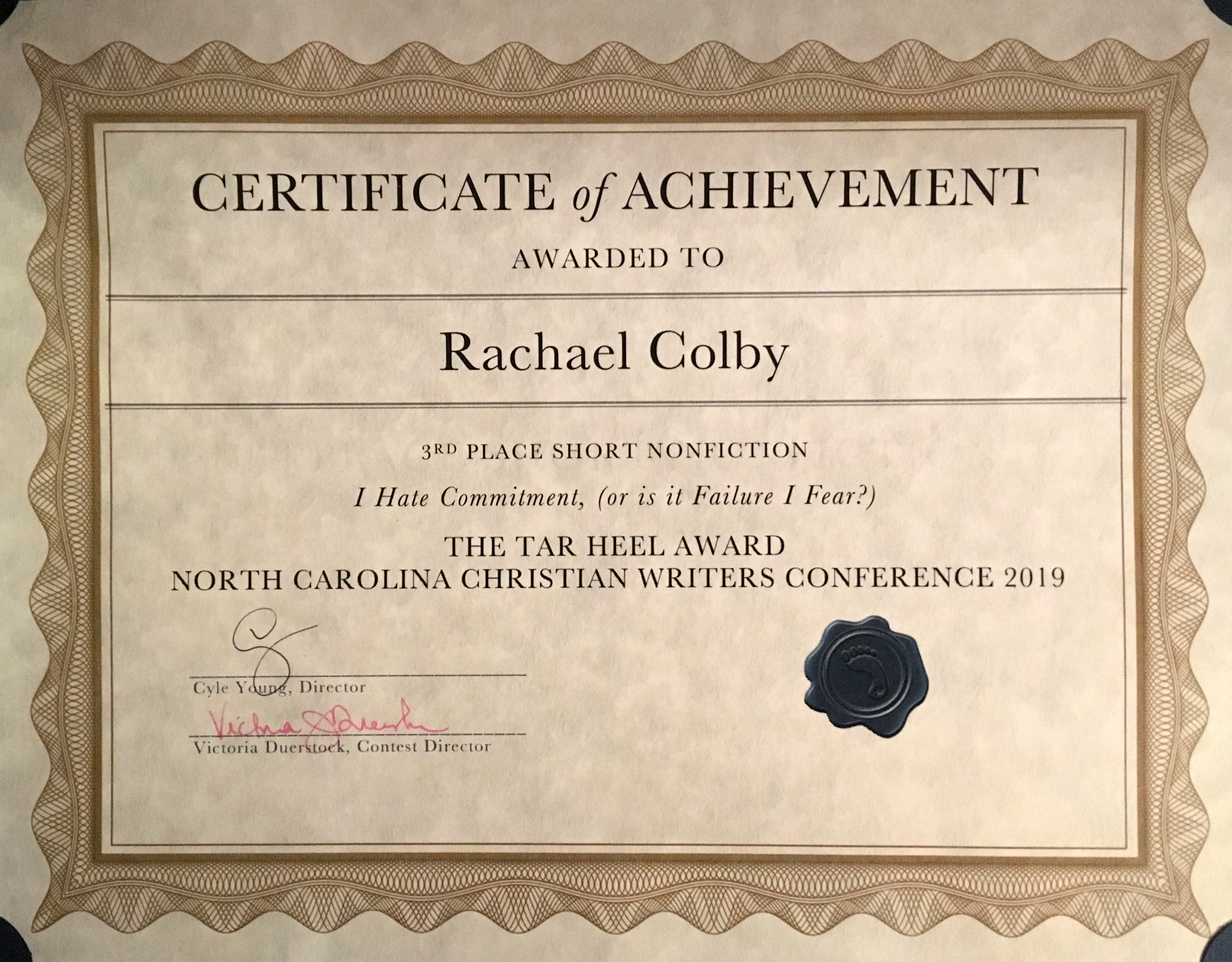 Rachael-M-Colby-North-Carolina-Christian-Writers-Conference-3rd-Place-Tar-Heel-Award